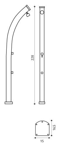 Douche solaire aluminium Formidra JOLLY CURVED avec mitigeur - Caractéristiques de la douche solaire Formidra JOLLY CURVED