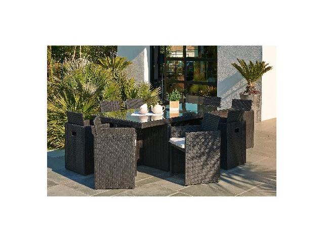 Salon de jardin en résine tressée avec table + 8 fauteuils encastrables Noir