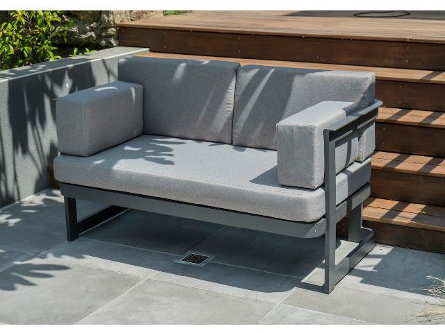 Salon de jardin BARCELONA 4 places aluminium Gris anthracite