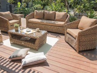 Salon d\'angle de jardin BAHAMAS 6 places aluminium et résine ...