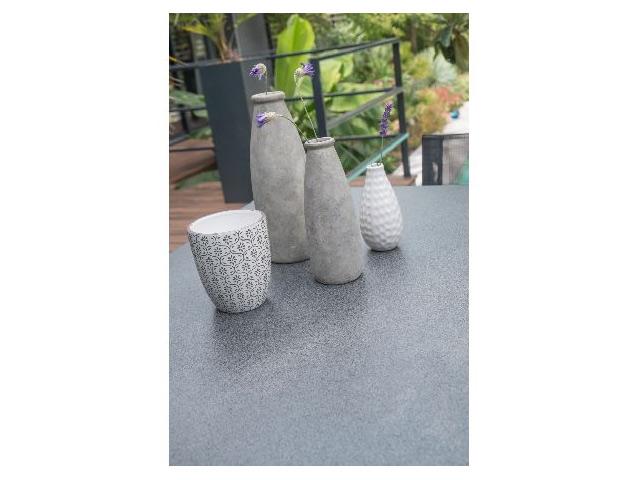 Table de jardin MIAMI aluminium plateau verre avec rallonge  240/300x100x77cm Gris anthracite