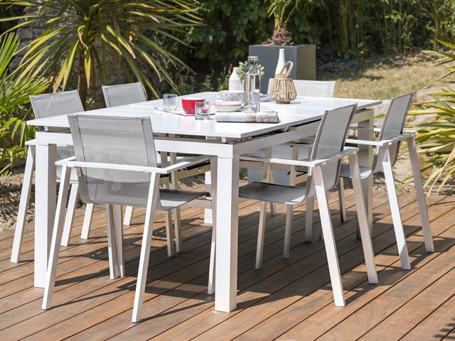 Table de jardin MYKONOS aluminium avec rallonge 180/240x100x77cm ...