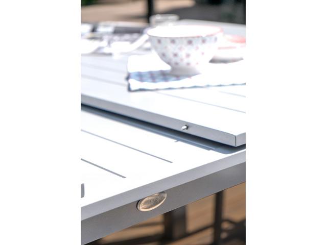 Table de jardin MYKONOS aluminium avec rallonge 180/240x100x77cm Blanc