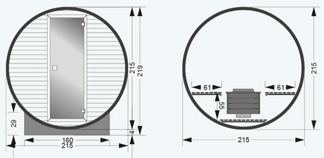 Sauna exterieur vapeur BARREL - Dimensions du sauna HOLL'S extérieur vapeur BARREL