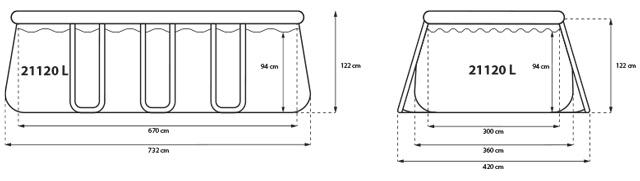 Piscine hors-sol autoportante Jilong CHINOOK 732x360x122cm filtration cartouche - Caractéristiques de la piscine hors-sol autoportante Jilong CHINOOK filtration cartouche