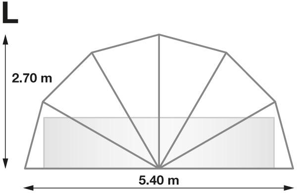 Abri rond piscine ou spa SUNNY TENT L Ø5,40xH2,70m - Dimensions de l'abri rond piscine ou spa SUNNY TENT L
