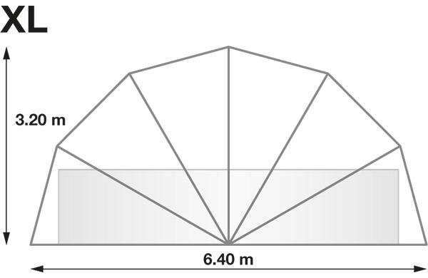 Abri rond piscine ou spa SUNNY TENT XL Ø6,40xH3,20m - Dimensions de l'abri rond piscine ou spa SUNNY TENT XL
