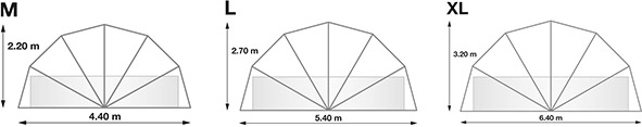Abri rond piscine ou spa SUNNY TENT XL Ø6,40xH3,20m - Dimensions de l'abri rond piscine ou spa SUNNY TENT