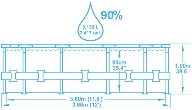 Kit piscine Bestway STEEL PRO FRAME POOLS ronde Ø366 x 100cm aspect tresse filtration a cartouche - Avantages des piscines Bestway STEEL PRO FRAME POOLS Ø366 x 100cm aspect tressé filtration à cartouche
