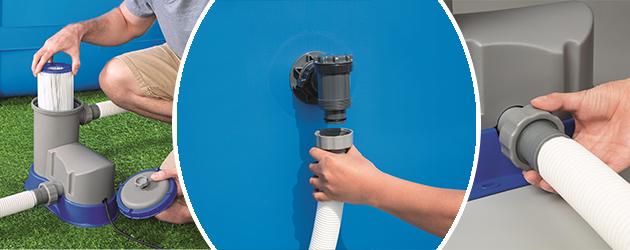 Filtration a cartouche Bestway FLOWCLEAR 5,7m³/h piscine hors-sol - Avantages de la filtration monobloc à cartouche FLOWCLEAR