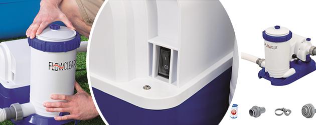 Filtration a cartouche Bestway FLOWCLEAR 9,5m³/h piscine hors-sol - Avantages de la filtration monobloc à cartouche FLOWCLEAR 9,5m³/h