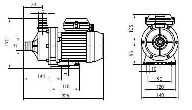 Pompe filtration piscine P-AM 6m³/h, monophase BWT myPOOL - Dimensions de la pompe de filtration piscine P-AM 6m³/h, monophasé BWT myPOOL