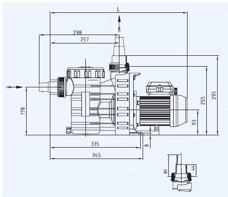 Pompe filtration piscine P-AP 4m³/h, monophase BWT myPOOL - Dimensions de la pompe de filtration piscine P-AP 4m³/h, monophasé BWT myPOOL
