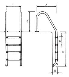 Echelle Flexinox de piscine inox 316 3 marches - Dimensions de l'échelle de piscine standard en inox 316 3 marches