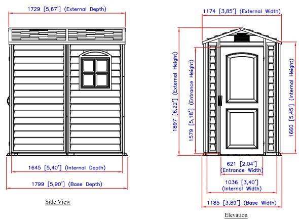 Abri de jardin PVC WOODSTYLE PREMIUM Duramax 2,02m² - Dimensions de l'abri de jardin PVC WOODSTYLE PREMIUM Duramax 2,02m²