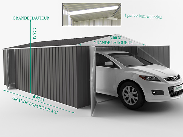 Garage metal EasyShed COLORBOND XLL 19,95m² - Dimensions du garage EasyShed COLORBOND XLL 19,95m²