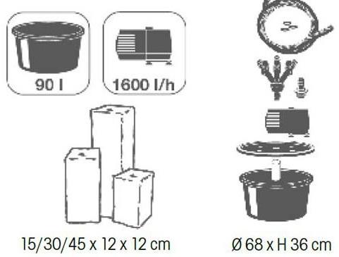 Kit complet fontaine de jardin TARANTO Ubbink - Caractéristiques de la fontaine de jardin TARANTO Ubbink