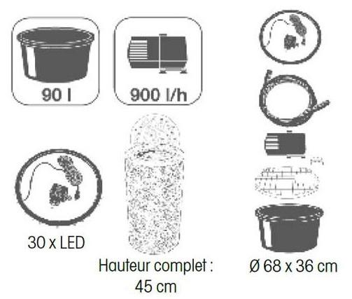 Kit complet fontaine de jardin LAS PALMAS Ubbink - Caractéristiques de la fontaine de jardin LAS PALMAS Ubbink