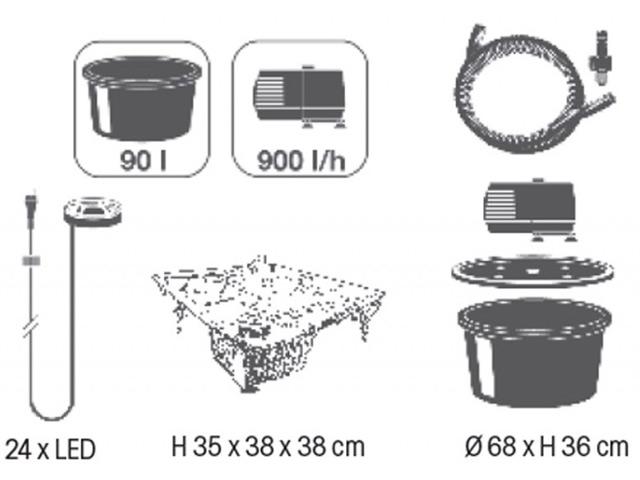 Kit complet fontaine de jardin LENDAS Ubbink - Caractéristiques de la fontaine de jardin LENDAS Ubbink