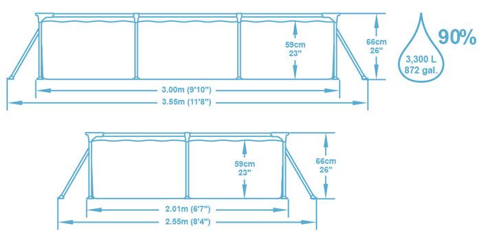 Piscine hors-sol tubulaire Bestway DELUXE SPLASH FRAME POOL rectangulaire 300x201x66cm - Caractéristiques techniques