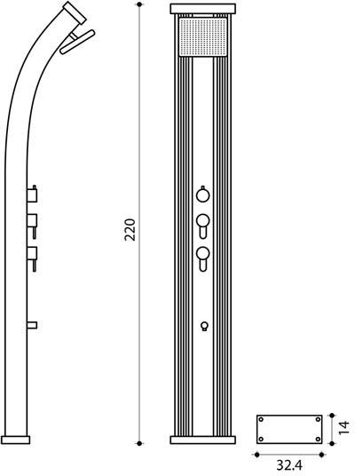 Douche solaire Formidra DADA CURVE avec mitigeur 38L Anthracite/Alu - Caractéristiques de la douche solaire Formidra DADA CURVE Anthracite / Alu