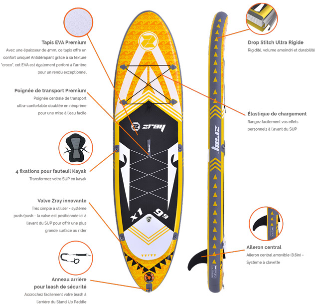 Paddle gonflable Zray X-Rider 9'9 - Les points forts du paddle gonflable Zray X-Rider 9'9