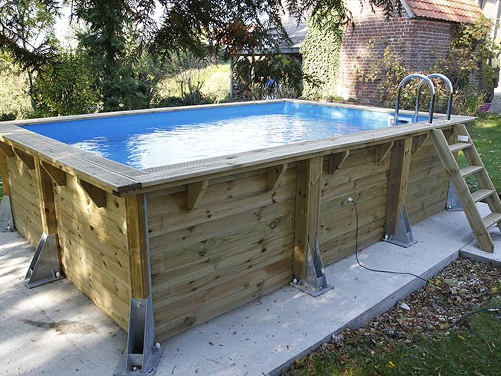 Piscine En Palette De Bois kit piscine bois nortland ubbink azura rectangulaire 250x450x126cm liner  bleu
