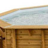 Kit piscine bois Nortland Ubbink LINEA rectangulaire 350x650x140cm liner gris - Piscine bois Nortland Ubbink LINEA Complète et prête à plonger