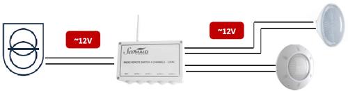Module radio Seamaid + telecommande 8 boutons 12V/240W projecteur piscine - Branchements et installation du module de commande radio Seamaid pour projecteur