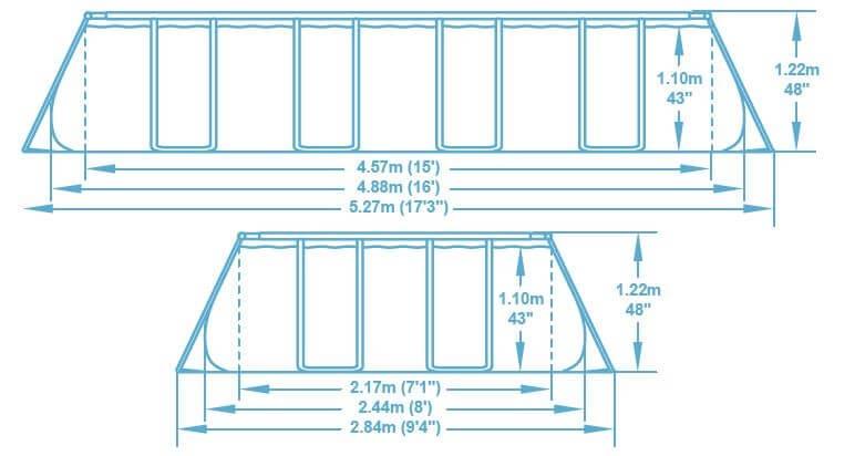 Kit piscine hors-sol Bestway POWER STEEL rectangulaire 488x244x122cm motif rotin gris - Dimensions de la piscine hors-sol Bestway POWER STEEL rectangulaire 488x244x122cm motif rotin gris