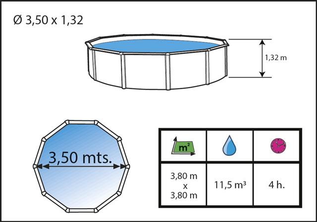 Kit piscine hors-sol acier Toi ANTHRACITE PRESTIGIO 132 ronde Ø350x132cm filtre a sable - Dimensions de la piscine Toi PRESTIGIO 132