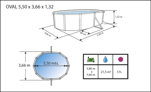 Kit piscine hors-sol acier Toi ANTHRACITE PRESTIGIO 132 ovale 550X366X132cm filtre a sable - Dimensions de la piscine Toi PRESTIGIO 132