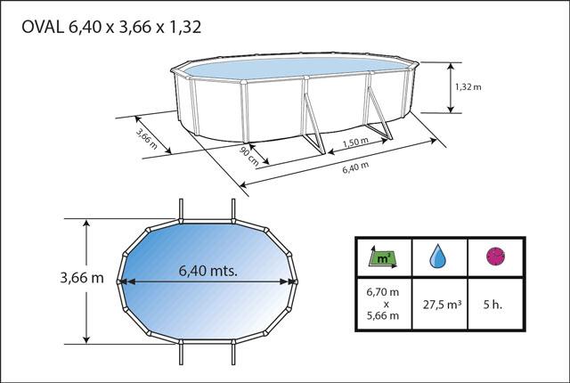 Kit piscine hors-sol acier Toi ANTHRACITE PRESTIGIO 132 ovale 640X366X132cm filtre a sable - Dimensions de la piscine Toi PRESTIGIO 132