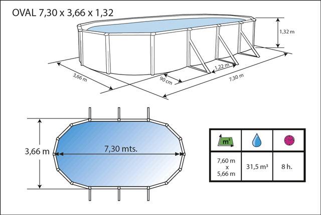 Kit piscine hors-sol acier Toi ANTHRACITE PRESTIGIO 132 ovale 730X366X132cm filtre a sable - Dimensions de la piscine Toi PRESTIGIO 132