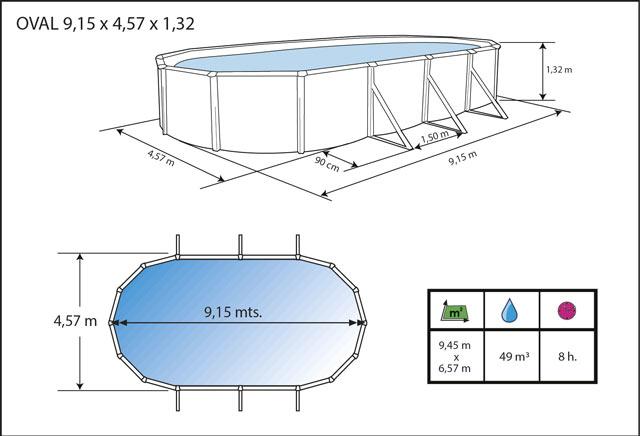 Kit piscine hors-sol acier Toi ANTHRACITE PRESTIGIO 132 ovale 915X457X132cm filtre a sable - Dimensions de la piscine Toi PRESTIGIO 132