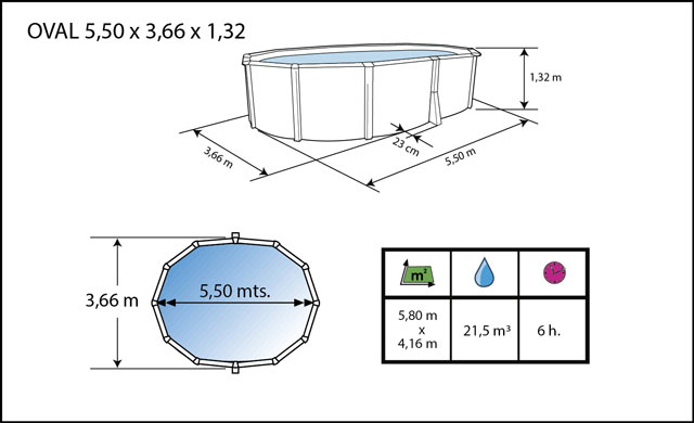 Kit piscine hors-sol acier Toi ANTHRACITE IBIZA COMPACT ovale 550X366X132cm filtre a sable - Dimensions de la piscine Toi IBIZA COMPACT