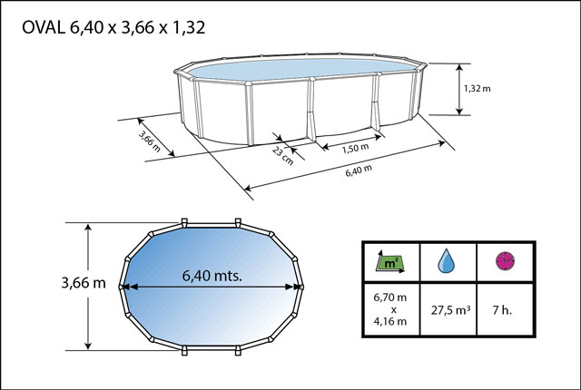 Kit piscine hors-sol acier Toi ANTHRACITE IBIZA COMPACT ovale 640X366X132cm filtre a sable - Dimensions de la piscine Toi IBIZA COMPACT