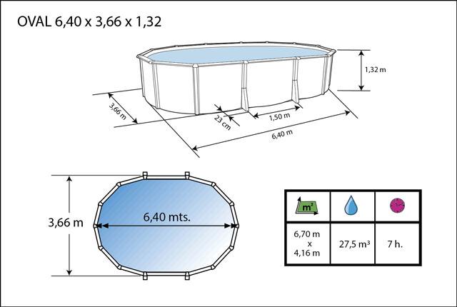 Kit piscine hors-sol acier Toi ANTHRACITE IBIZA ovale 640X366X132cm filtre a sable - Dimensions de la piscine Toi IBIZA
