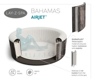 Spa gonflable Bestway LAY-Z-SPA BAHAMAS 2021 AirJet Ø180x66cm 2/4 places - Spa gonflable Bestway LAY-Z-SPA BAHAMAS Détente et relaxation au programme