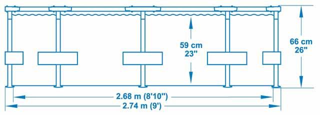 Piscine hors-sol Bestway SPLASH FRAME POOLS ronde Ø274x66cm - Caractéristiques techniques