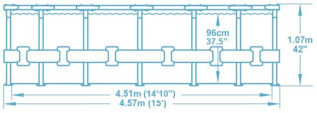 Kit piscine Bestway STEEL PRO MAX ronde Ø457x107cm filtration cartouche - Caractéristiques techniques Bestway STEEL PRO MAX