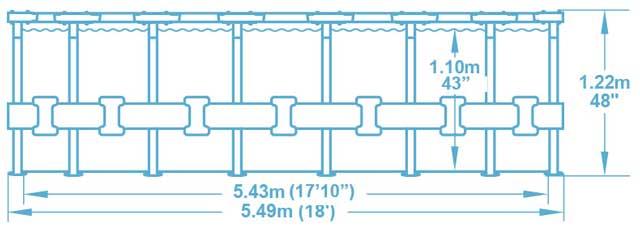 Kit piscine Bestway STEEL PRO MAX ronde Ø549x122cm filtration cartouche - Caractéristiques techniques Bestway STEEL PRO MAX