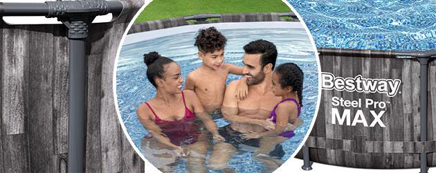 Kit piscine Bestway STEEL PRO MAX ronde Ø427x107cm decor Bois filtration cartouche - Avantages des piscines Bestway STEEL PRO MAX