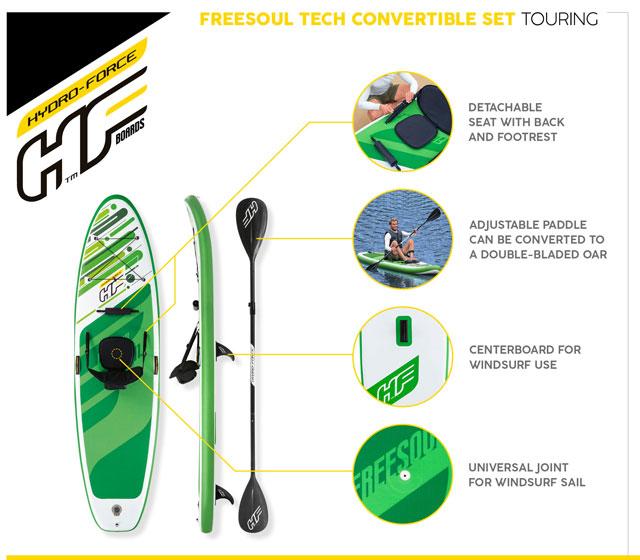 Paddle gonflable Bestway FREESOUL 340x89x15cm 1 place convertible kayak - Paddle gonflable Bestway Pour des heures d'amusement et de joie