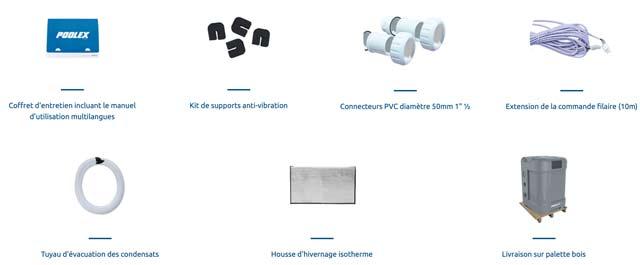 Pompe a chaleur Poolex Q-LINE 7 Inverter pour piscine 30 a 40m3 New 2021 - Accessoires inclus