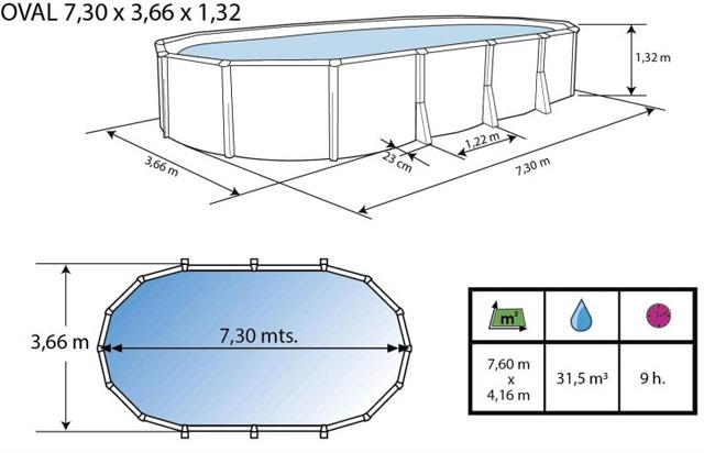 Kit piscine hors-sol acier Toi IBIZA ovale 730X366X132cm filtre a sable 8,5m³/h sans contrefort - Dimensions et schéma d'installation de la piscine Toi IBIZA ovale sans contrefort