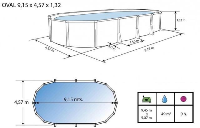 Kit piscine hors-sol acier Toi IBIZA ovale 915x457X132cm filtre a sable 8,5m³/h sans contrefort - Dimensions et schéma d'installation de la piscine Toi IBIZA ovale sans contrefort